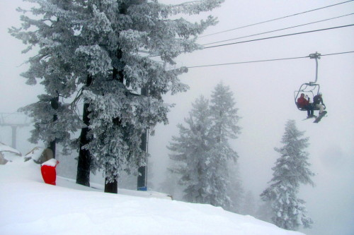 A little fog at the top of the express lift.