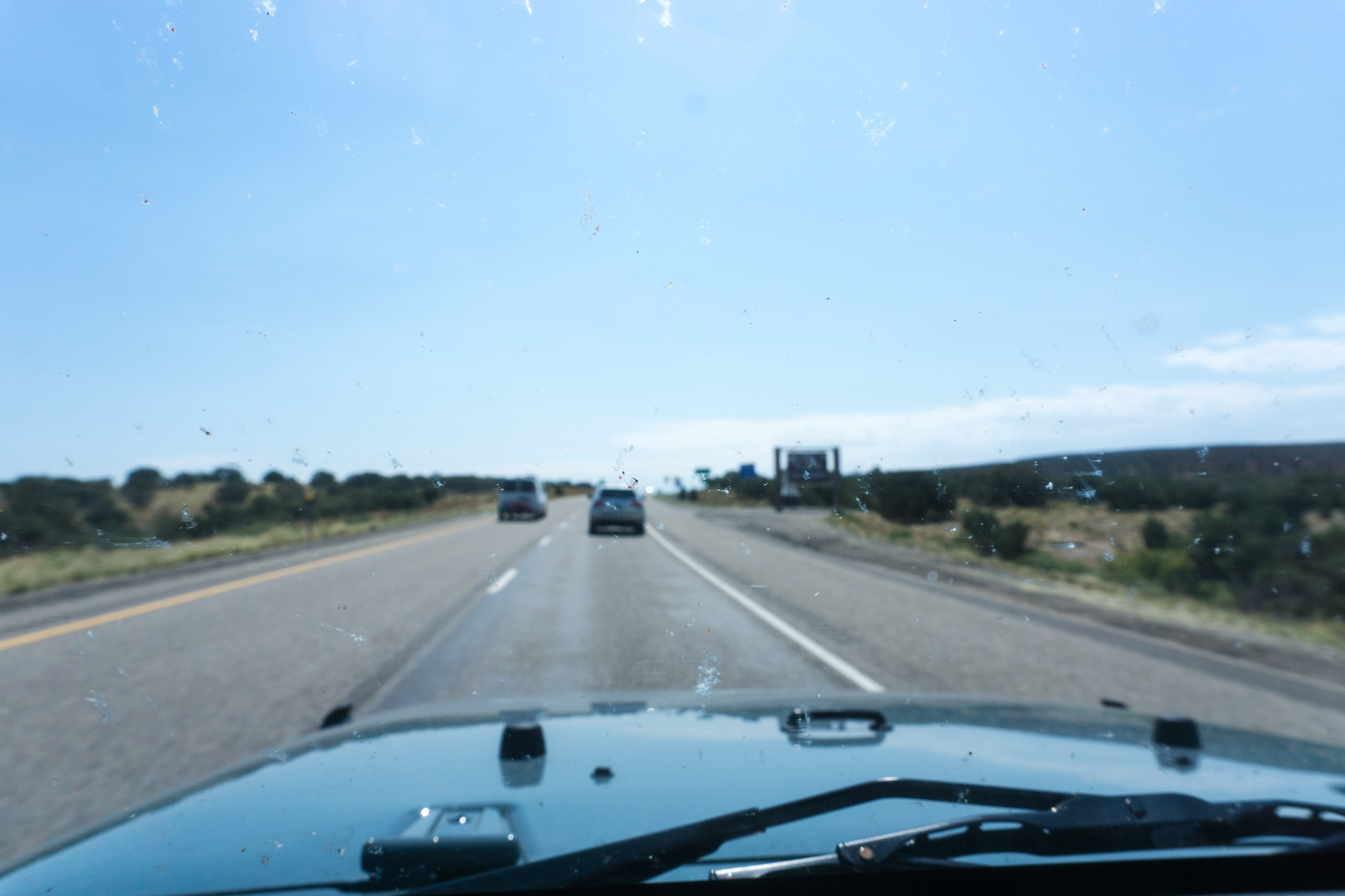 Entering Colorado. Splattered bugs say an in-focus hello.